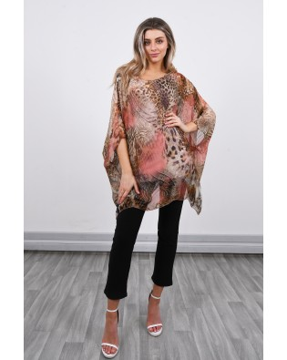 3666A Batwing Silky Animal Print Top