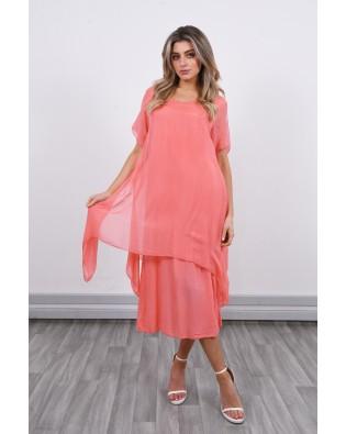 7382 Short Sleeve Silk Dress