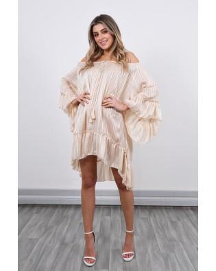 8292 Off Shoulder Stripped Dress