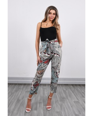 H0147 Slouchy and Printed Cropped Trousers